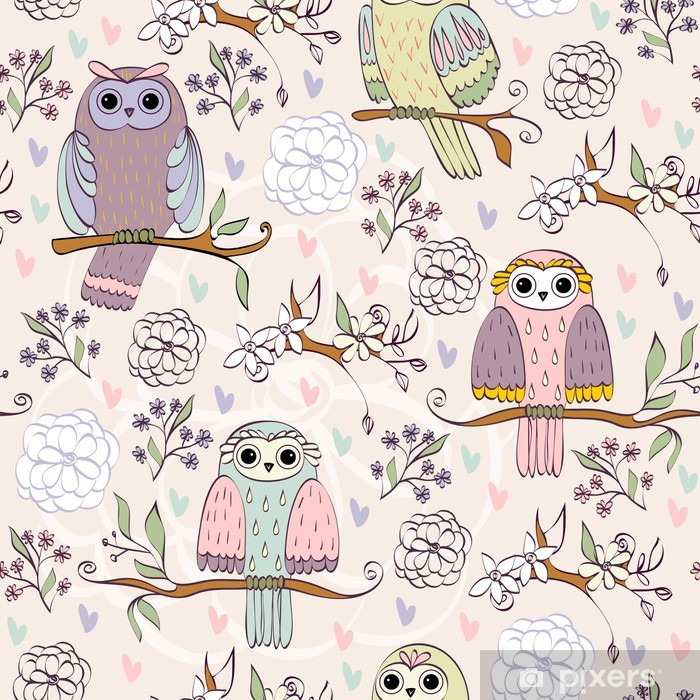 Plakat Ilustracji z sowy siedzącej na gałęzi - Ptaki