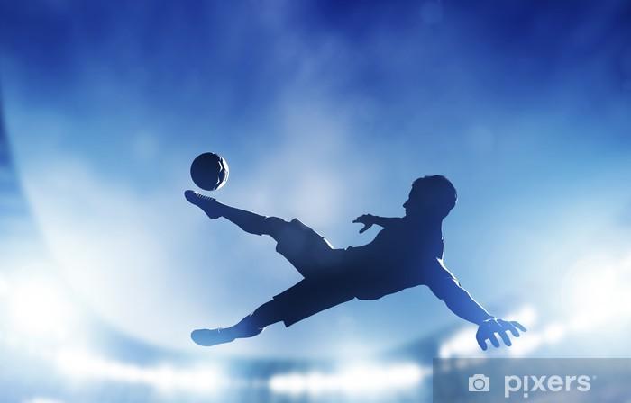 Pixerstick Sticker Voetbal, voetbal wedstrijd. Een speler schieten op doel - Thema's
