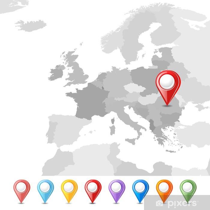Fotomural Estándar Unión Europea mapa con punteros - Fondos