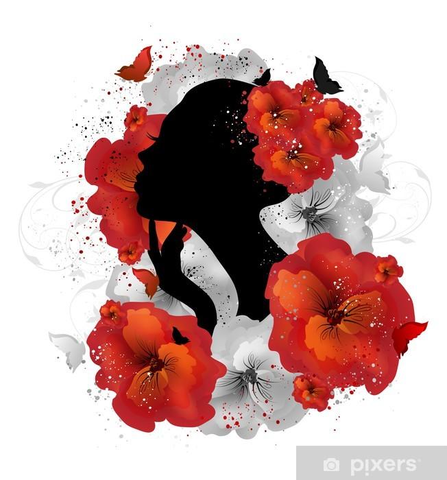 Sticker Pixerstick Floral femme - Parties du corps