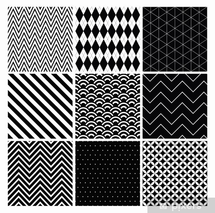 Poster Seamless géométrique hippie fond réglé. noir et blanc - Arrière plans