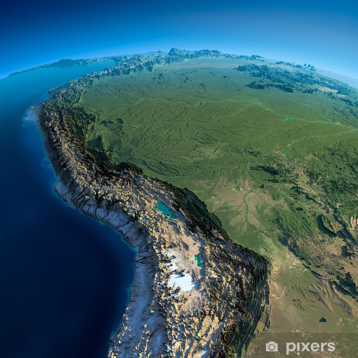 Vinilo Pixerstick Tierra detallada. Bolivia, Perú, Brasil - América