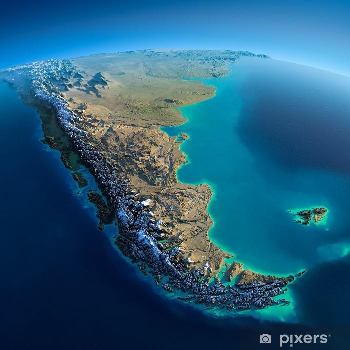 Fotomural Estándar Detailed Earth. South America. Tierra del Fuego - América