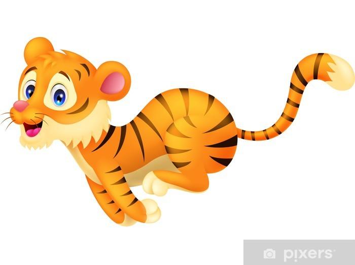 Carta da parati tiger cartone animato in esecuzione u pixers