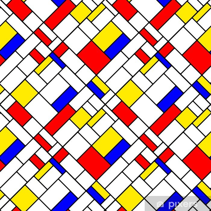 Colorful diagonal geometric mondrian style seamless pattern Self-Adhesive Wall Mural - Themes