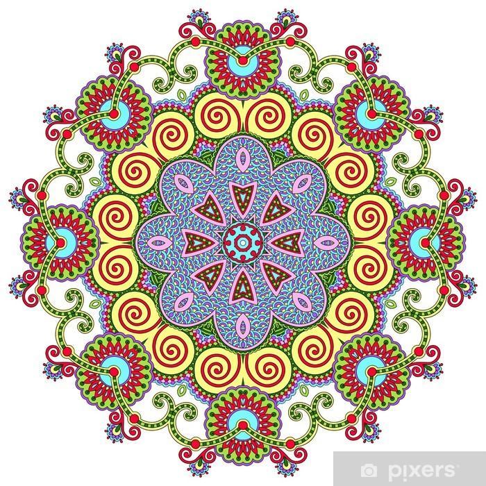 Naklejka Pixerstick Ornament koronki koło, okrągły wzór dekoracyjny geometryczny serwetka - Naklejki na ścianę