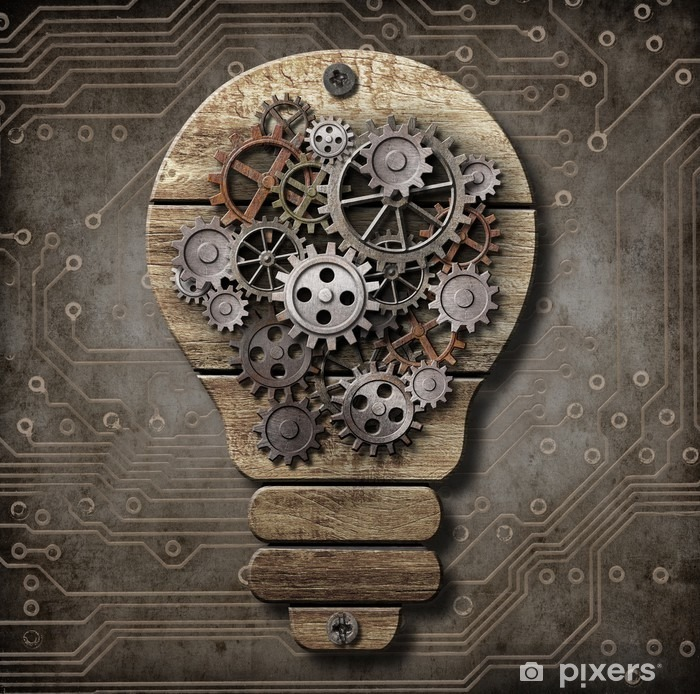 Wooden lamp with cogs and gears. Idea concept. Pixerstick Sticker - Styles