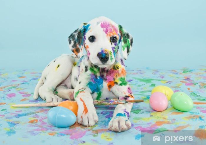 Naklejka Pixerstick Wielkanoc dalmatain szczeniaka - Tematy