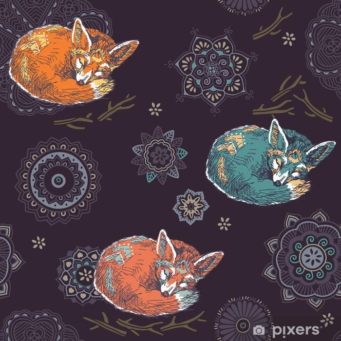 Plakat Fox spanie w kwiat ozdoba. Szwu. - Tła