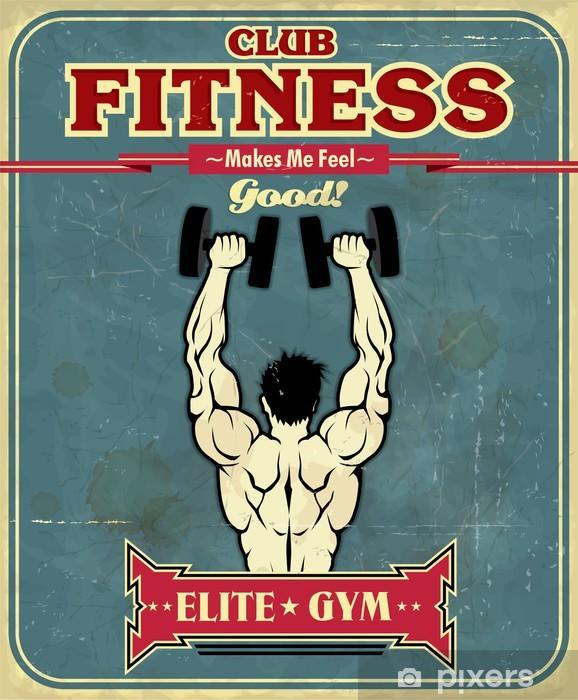 Vintage Fitness Gym poster design Vinyl Wall Mural - Destinations