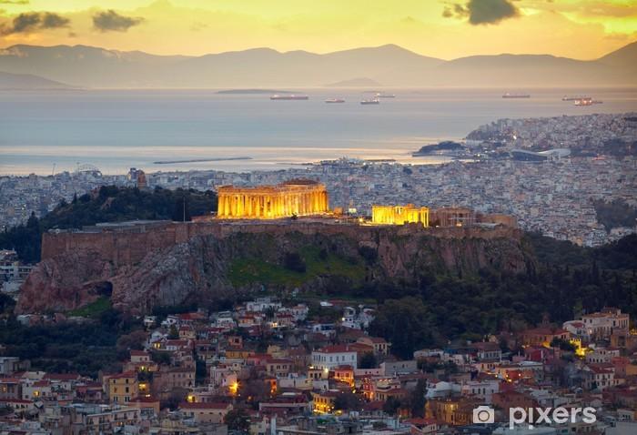 Fototapeta winylowa Ateny, Grecja. Po zachodzie słońca. Partenon i Herodium BUDOWLANE - Tematy
