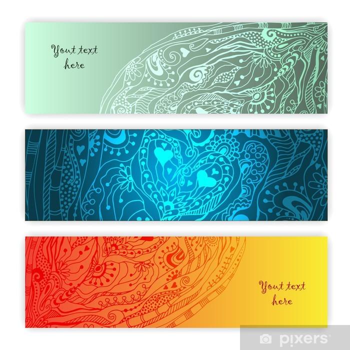 Poster Eindeutige abstrakte ethnische Muster-Karten-Set - Zeichen und Symbole