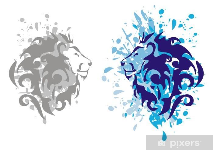 Naklejka Pixerstick Lwy głowy z odpryskami - Sukces i osiągnięcia