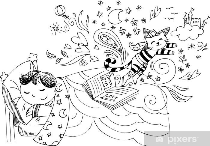 Fototapeta winylowa Dziecko w łóżku marzy Kot w butach - Dzieci