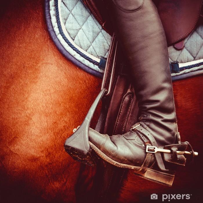 Mural de Parede em Vinil jockey riding boot, horses saddle and stirrup - Desportos Individuais