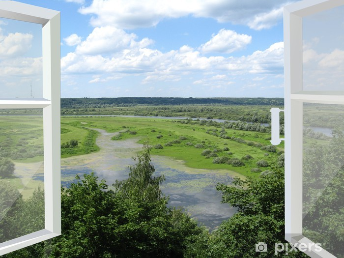 opened window to the summer landscape Vinyl Wall Mural - Themes