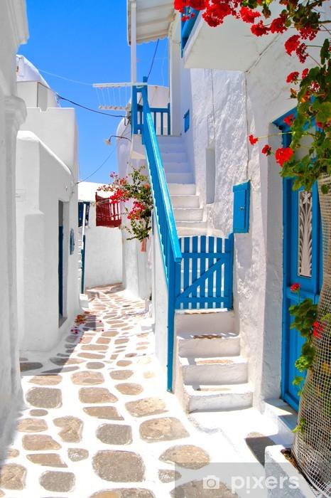 Vinyl Fotobehang Mooie witte straten van Mykonos, Griekenland - Thema's