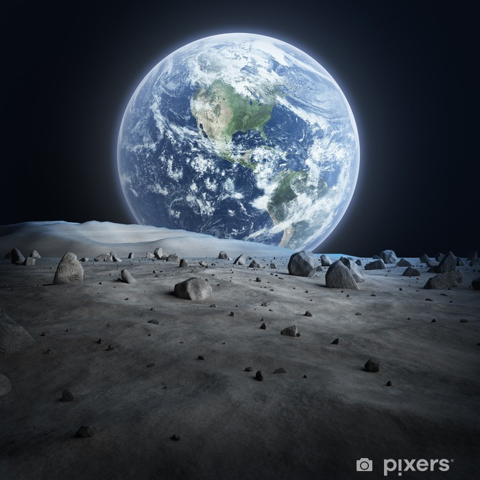 Earth seen from the moon. Poster - Destinations