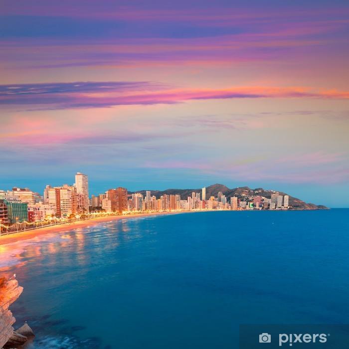 Fotomural Estándar Benidorm Alicante atardecer playa de Levante atardecer playa en España - Europa