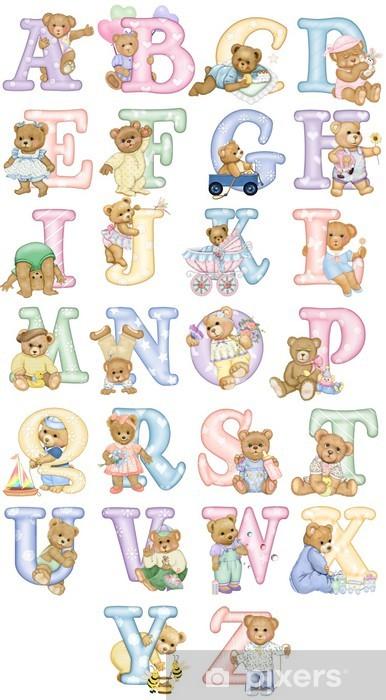 Papier peint vinyle Teddy Tot Alphabet - avec les ours - Destin