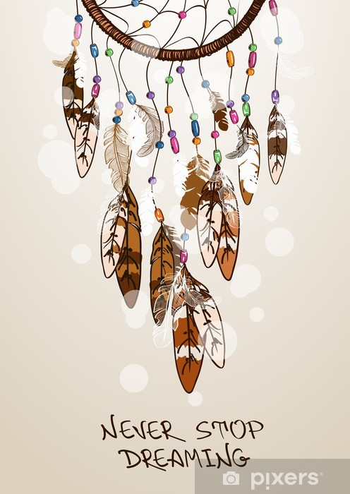 Illustration with American Indians dreamcatcher Vinyl Wall Mural - Esoteric