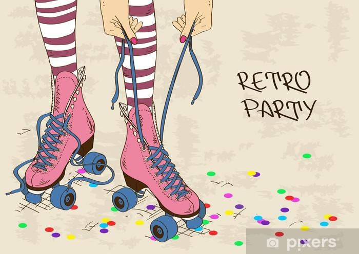 Papier peint vinyle Illustration avec jambes de femmes en patins à roulettes rétro - Divertissements