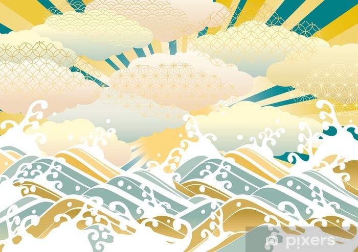Papier peint vinyle 横 _ _ 淡 い 和 柄 _ _ 雲 青 - Eau