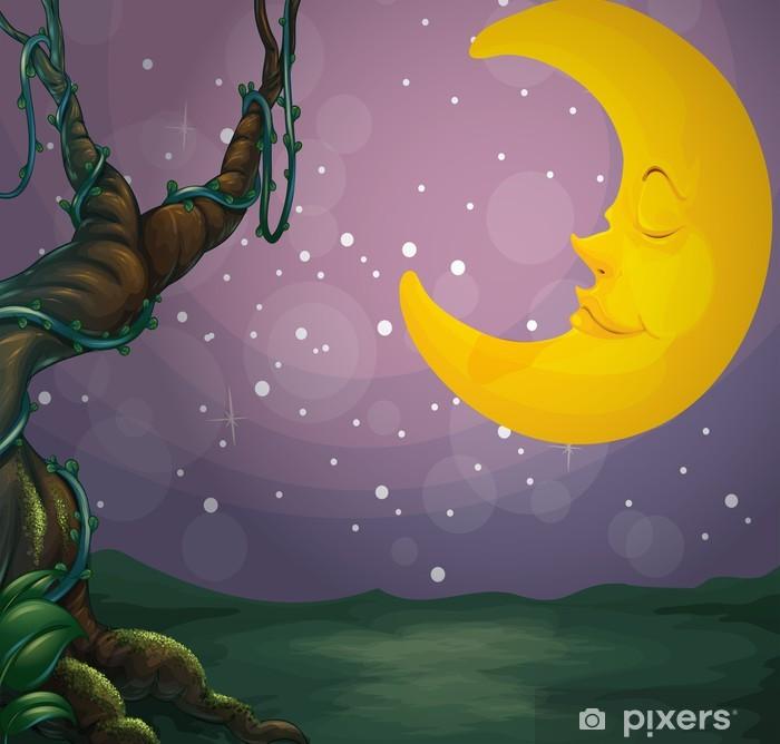 Poster Un arbre géant et une lune de sommeil - Ciel