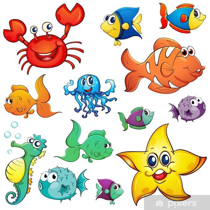 Sticker Pixerstick Différentes créatures de la mer - Animaux marins