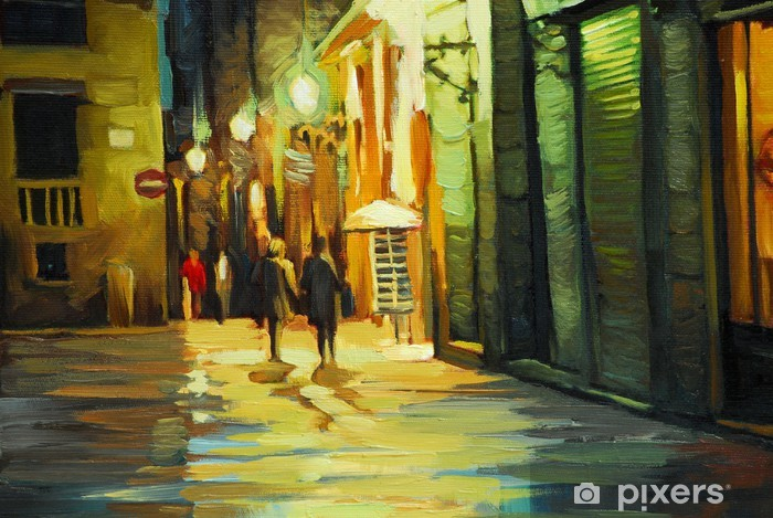 rain in gothic quarter of barcelona, painting by oil, illustrati Vinyl Wall Mural - Themes
