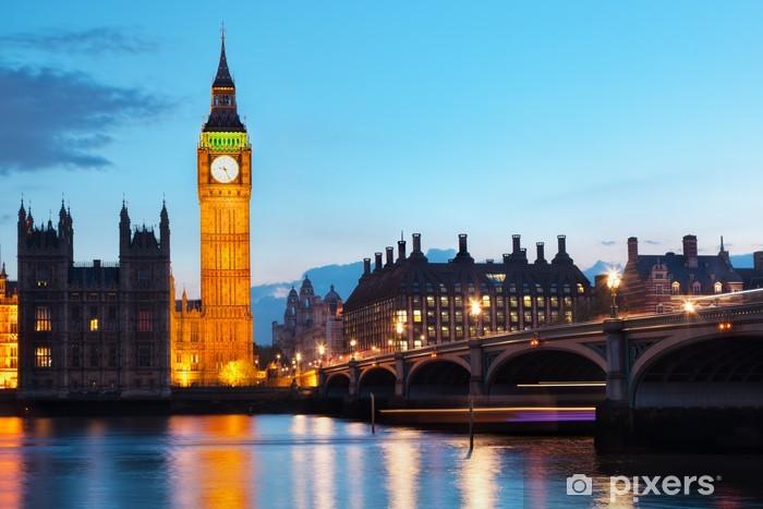 Fotomural Estándar Londres, Reino Unido. Big Ben y el río Támesis en la noche - Temas