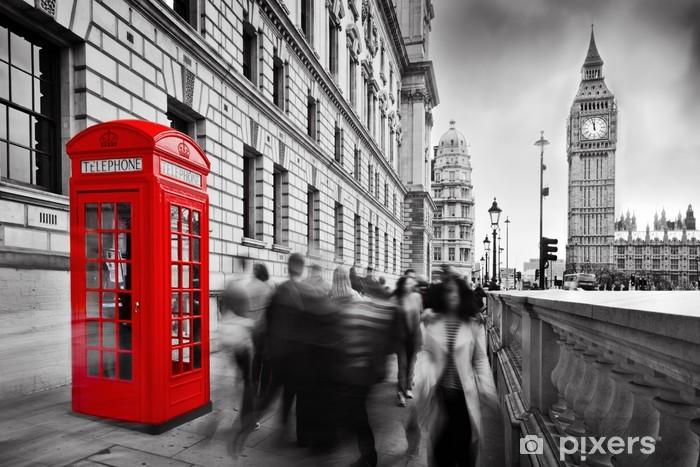 Naklejka Pixerstick Czerwona budka telefoniczna i Big Ben w Londynie, Anglii, Wielkiej Brytanii - Style