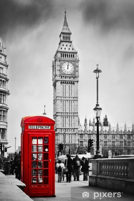Naklejka Pixerstick Czerwona budka telefoniczna i Big Ben w Londynie, Anglii, Wielkiej Brytanii -