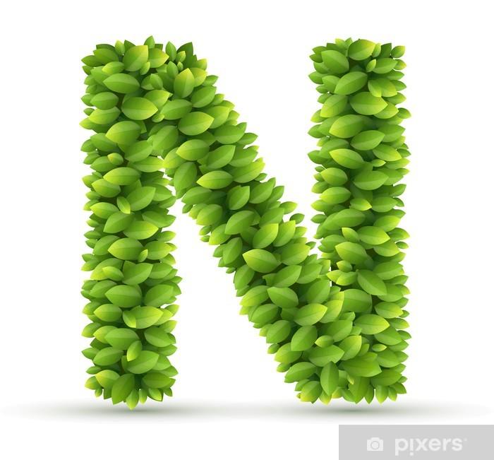 Vinylová fototapeta Písmeno N, vektor abeceda zelenými listy - Vinylová fototapeta