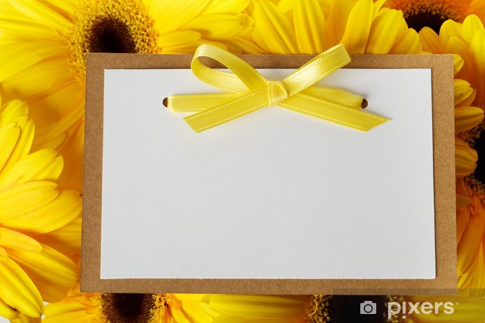 Vinylová fototapeta Zpráva týkající se karty se žlutými gerber - Vinylová fototapeta