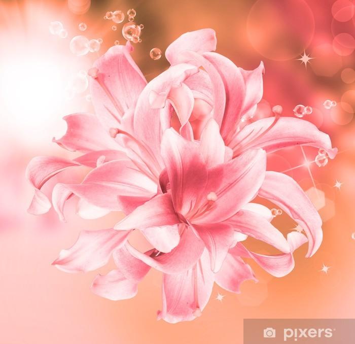Papier peint vinyle Belle Lily Flowers.Spring carte nature background.Floral - Fleurs