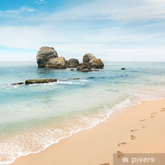 Poster Grand rocher dans l'océan - Eau