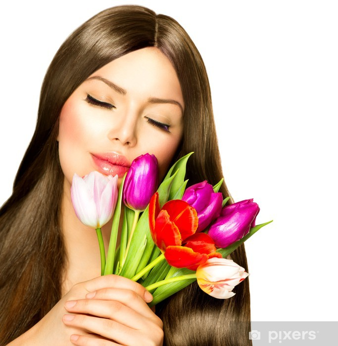 Beauty Woman with Spring Bouquet of Tulip Flowers Vinyl Wall Mural - Women