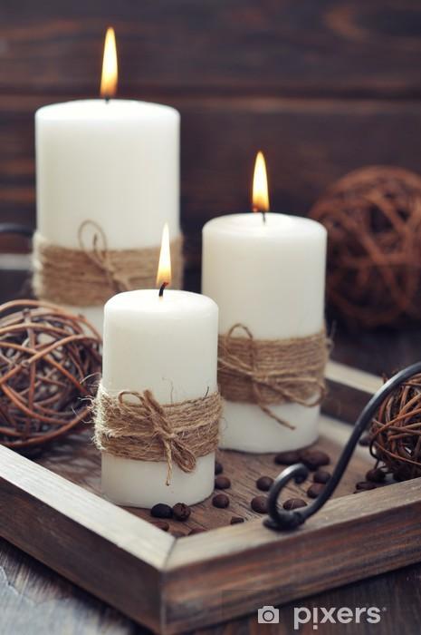Kynttilöitä vintage-tarjottimella Pixerstick tarra - Koti Ja Puutarha