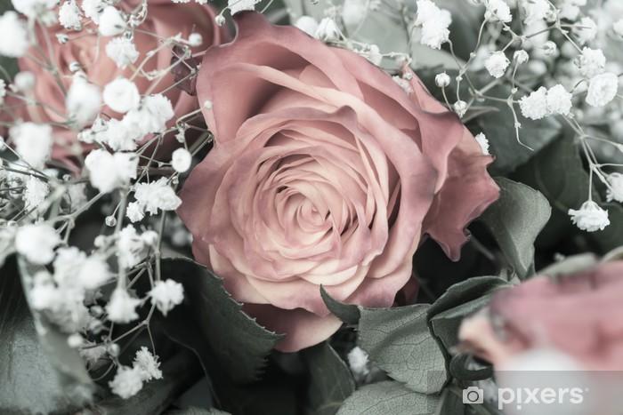 Papier peint vinyle Bouquet de roses roses douces sur le rétro stile - Fleurs