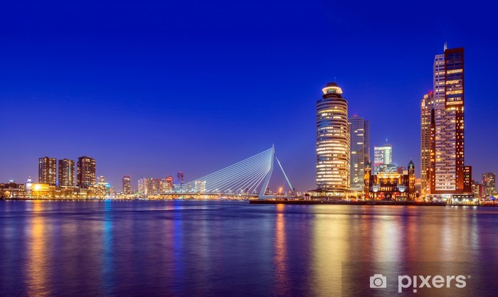 Erasmus Bridge at Twilight, Rotterdam, The Netherlands Pixerstick Sticker - Themes