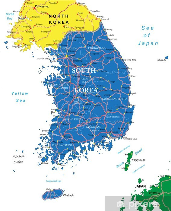 Fototapeta winylowa Korea Południowa na mapie - Miasta azjatyckie