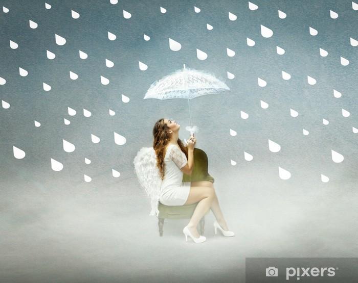 Papier peint vinyle Ange gardien sous la pluie - Merveilles naturelles