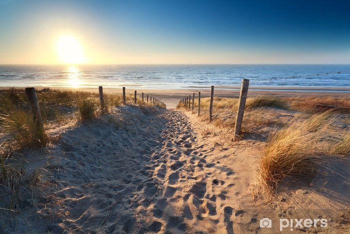 Pixerstick Sticker Pad naar zandstrand in Noordzee - Thema's