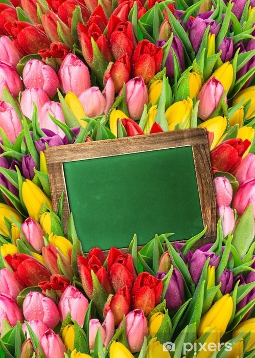 Fresh Spring Flowers Tulips And Blackboard Wall Mural Pixers