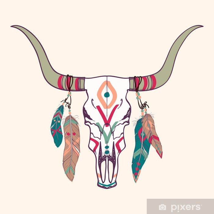 Vector illustration of bull skull with feathers Vinyl Wall Mural - Styles