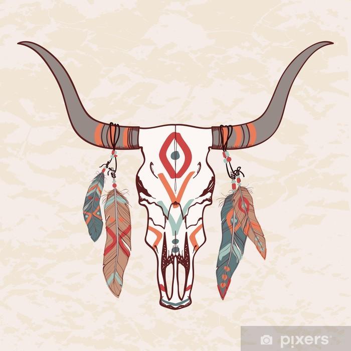 Papier peint vinyle Vector illustration de taureau crâne avec des plumes - Styles