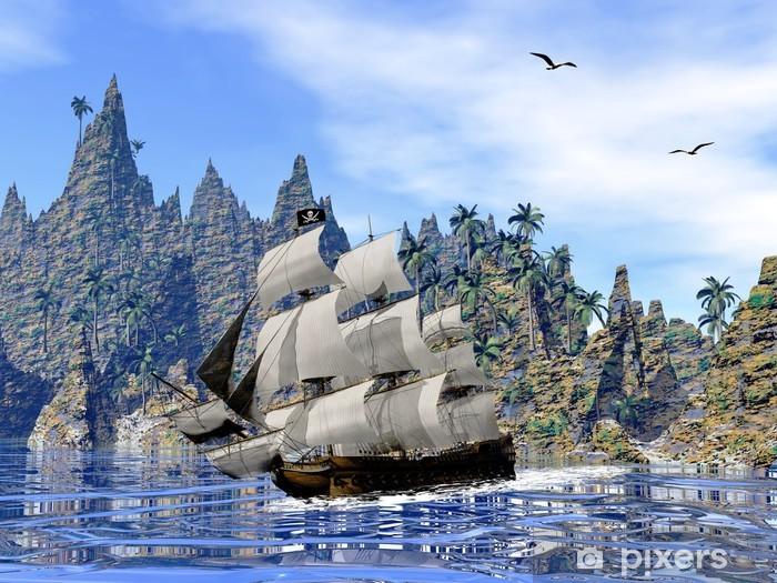 Adesivo Pixerstick Nave pirata sulla costa - rendering 3D - Temi