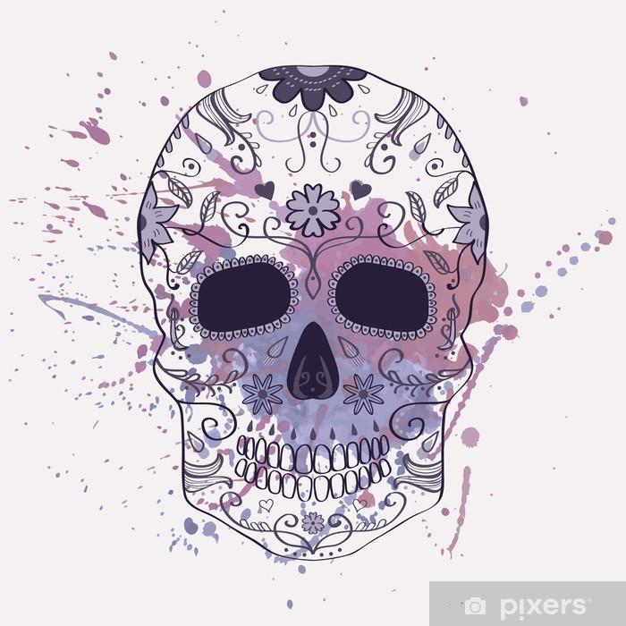 Poster Vektor-Illustration der Tag der toten Schädel mit Ornament - Amerika