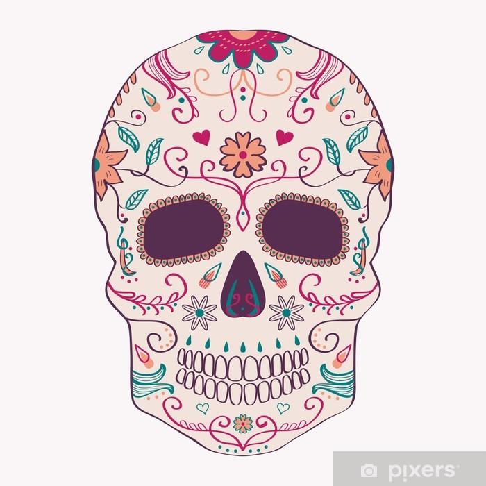 Sticker Pixerstick Vector illustration de la Journée du crâne mort avec ornement - Amérique